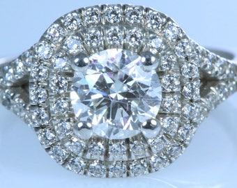 2.00 ct Round Cut D/SI1 Diamond  Engagement Ring 14K White Gold With ACCENTS AND HALO