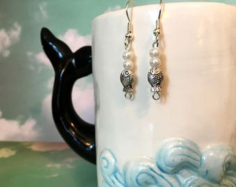 Silver fish charm drop dangle earrings with two pearls hypo allergenic