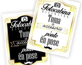 Spanish Selfie Station Photo booth props Set 2 signs - Grab a prop & Strike a pose, Instant Download, Printable, 300 dpi, High Resolution