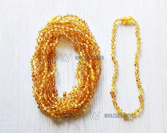 Teething necklaces for babies. Wholesale teething jewelry. Honey amber color. Baltic amber necklaces. Baroque teething. 5 pieces. MH2