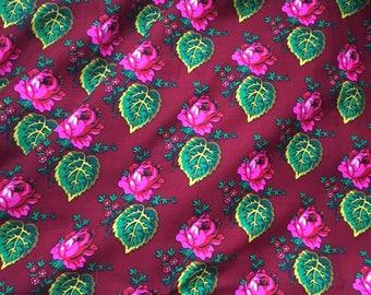 wool floral fabric /leaf design , beautiful vibrant colors