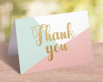 Thank You Cards Printable Pastel Baby Shower Decoration Pink Mint and Gold Baby Shower Thank You Cards Girl Birthday Thank You Note PDF GP1