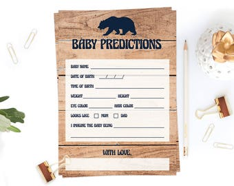 Woodland Baby Shower Game Card, Downloadable Baby Prediction Printables, Baby Bear Baby Shower Games, Baby Shower Wood, Woodland Decor, BBL