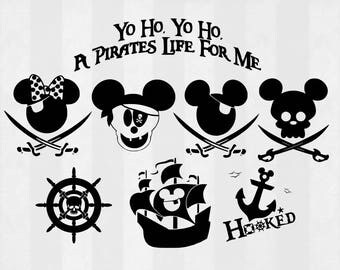 Mickey Pirate SVG Bundle, Mickey clipart, Mickey cut files, svg files for silhouette, files for cricut, svg, dxf, eps, cuttable design