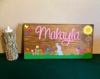 Custom Girls Name plaque with puppy