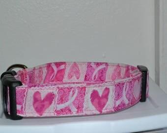 Breast Cancer Awareness Pink Ribbon Hearts Dog Collar CUSTOM Made to Order