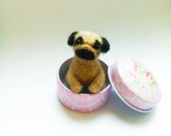 Needle felted Puppy pug Miniature dog Felted animal Made to order Wool dog toy Handmade toys Gift for her Wool dog Gift for her Toy