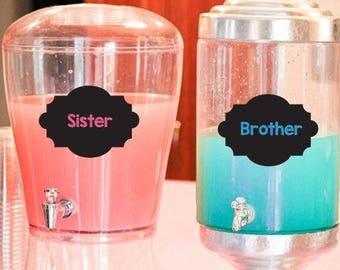 Sister or Brother - Chalkboard Style-DIGITAL - Gender Reveal ideas - Gender Reveal Drink Labels- Gender Reveal Party Decoration