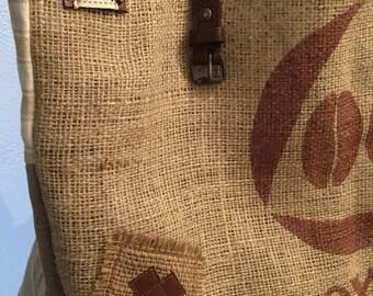 Burlap and linen, large tote bag tote.
