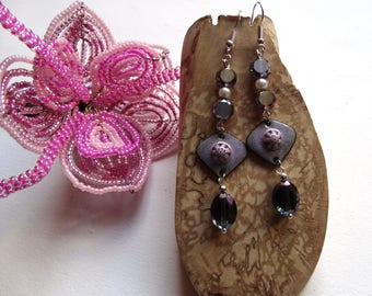 Purple earrings dangle connector enameled beads shades purple violet Crystal Swaroski and Bohemian - gift idea for woman