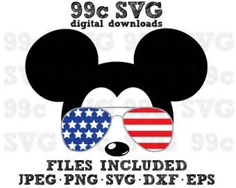 Mickey USA Flag Sunglasses SVG DXF Png Vector Cut File Cricut Design Silhouette Vinyl Decal Disney Party Stencil Template Heat Transfer Iron