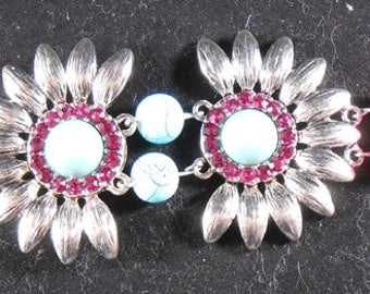 Turquoise, Hot Pink and Silver Bracelet