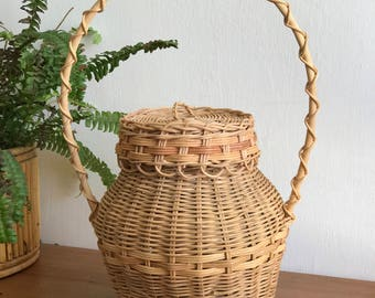 Large Woven Rattan Bamboo Basket with Lid and Long Handle