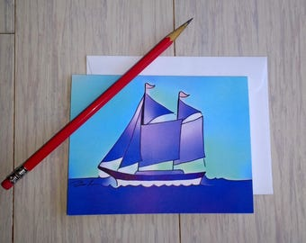 Set of 5 Sailboat Note Cards