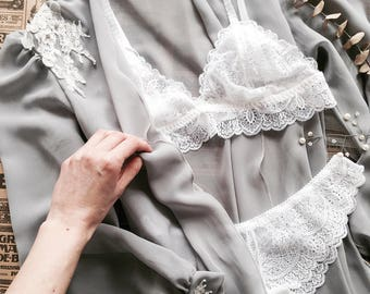 Emma - lace handmade lingerie set, READY TO SHIP, bralette and panties, made to order; Bridal lingerie; Wedding lingerie