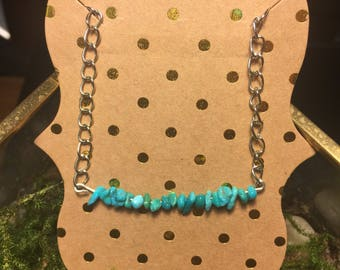 Genuine turqouise chain bracelet on a large chain link bracelet