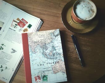 World map travel journal, ruled notebook, bon voyage journal, Australia, dark red border, quality paper, light weight ideal for travelling