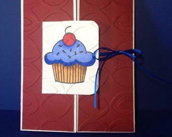 Greeting Card - Yummy Blue Cupcake - Gatefold Card