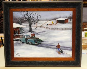 Original art, Chevy, truck, antique, rusty truck, Kathy Chism