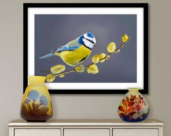 Digital painting, blue tit, digital download and print on canvas or paper art