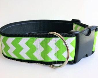 "Lime Green Chevron 2"" Wide Dog Collar, Large Dog Collar, Handmade"