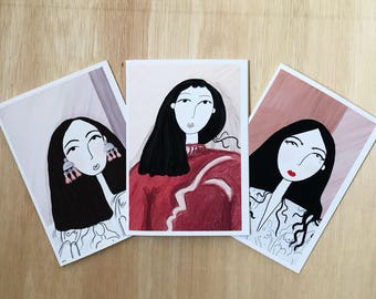 SET OF THREE - A6 greetings card