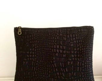 Crocodile print fabric clutch