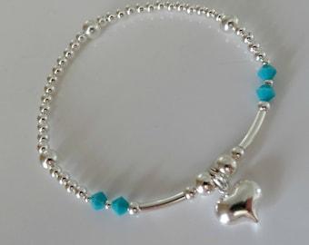 summer heart stacking bracelet sterling silver custom made by charmed