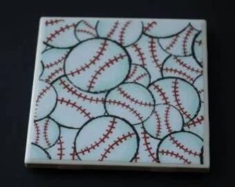 Softball Ceramic Coasters