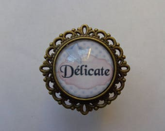 """Ring bronze cabochon glass 20mm """"Dainty"""" theme"""
