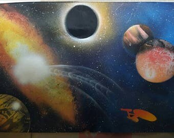 "Enterprise | 15"" x 22"" Spray Paint Art"