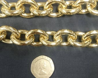 Large open link gold plated chain