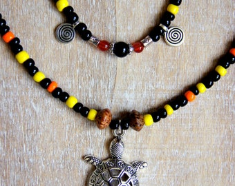 Double row of turtle and beads necklace
