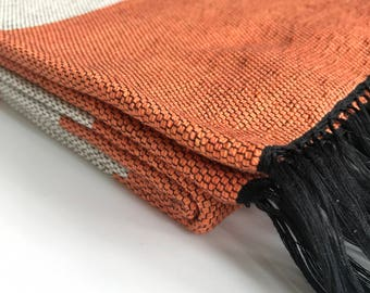 Handwoven Cotton Blanket - Bold Orange and White (Extra Large Single bed size)