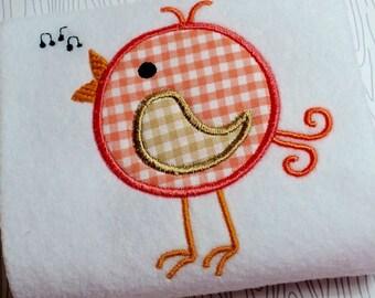 Appliqué Song bird machine embroidery instant download design, applique summer song bird design, summer bird