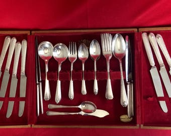 Vintage Silver Plated Flatware Collection in a Wooden Storage Box