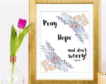 Padre Pio Quote Printable Pray Hope Don't Worry Catholic Saint Art