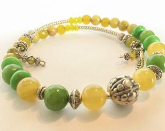 Gemstone Wrap Bracelet (Peridot, mother of pearl, jade, and howlite)