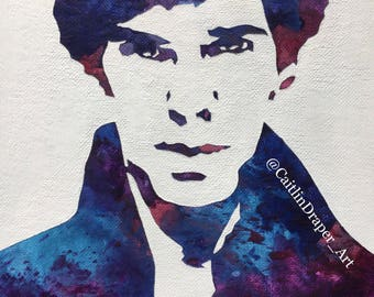 "Original Melted Crayon Art ""Mr. Holmes"" 8""x10"""