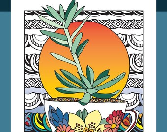 Succulent Serenity Coloring Book