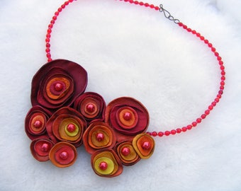 Red Orange Yellow Leather Necklace