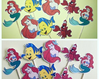 the little mermaid cupcake toppers, mermaid cupcake toppers, ariel cupcake toppers, disney birthday decorations