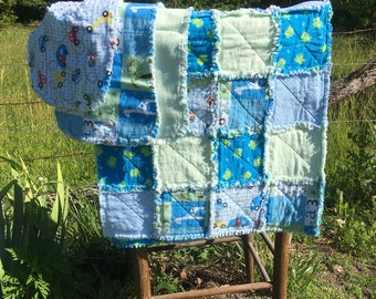 baby rag quilt, baby quilt, baby blanket, burp cloth and bib