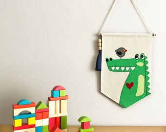 Croco&Birdy Wall Banner for Nursery, Kids, Girls, Boys Bedroom, Playroom, Wall Flag designed with fabric appliques, Baby Gift, Wall Art