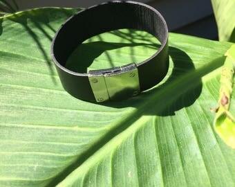 mens leather bracelet, black leather, 20mm, sterling silver clasp