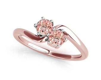 1 Ct. Two Stone Morganite Engagement Ring Crafted In 10k Gold