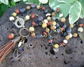 Mixed Agate, Jasper, Bone with Antique Brass and Brown Leather Tassel