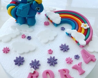 Edible My Little Pony Cake Topper Rainbow Name 6 Cloud & and 10 Blossoms Fondant