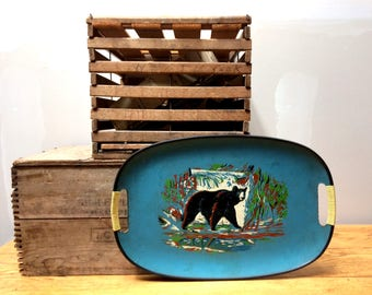 Silk Screened Black Bear 1950s Serving Tray