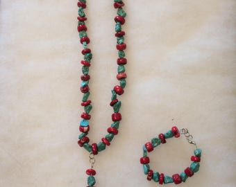 Blue turquoise with red coral